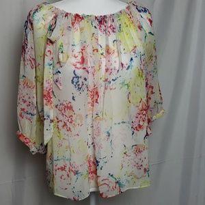CABI Sheer Floral Print Blouse
